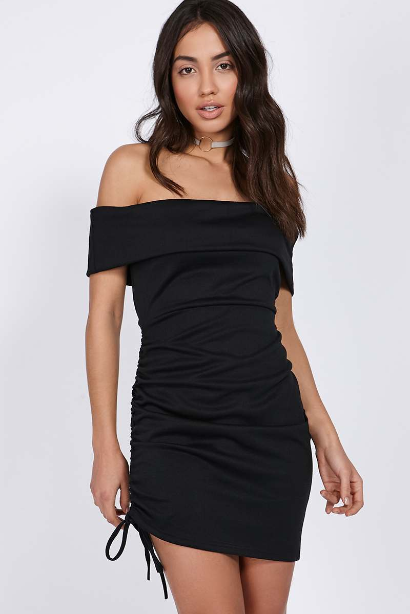 TERYN BLACK BARDOT RUCHED DRAWSTRING DRESS