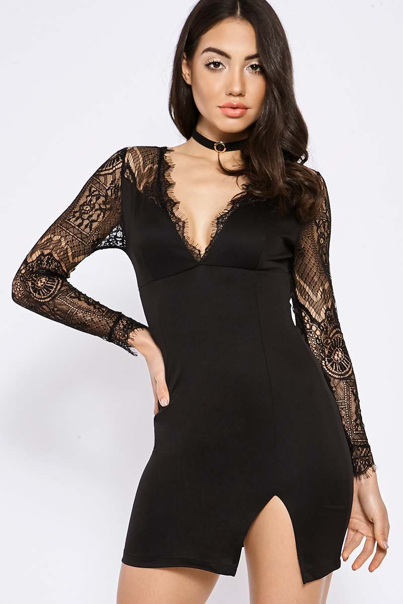 BINKY BLACK LACE INSERT MINI DRESS