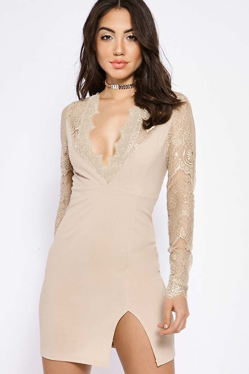 BINKY NUDE LACE INSERT MINI DRESS