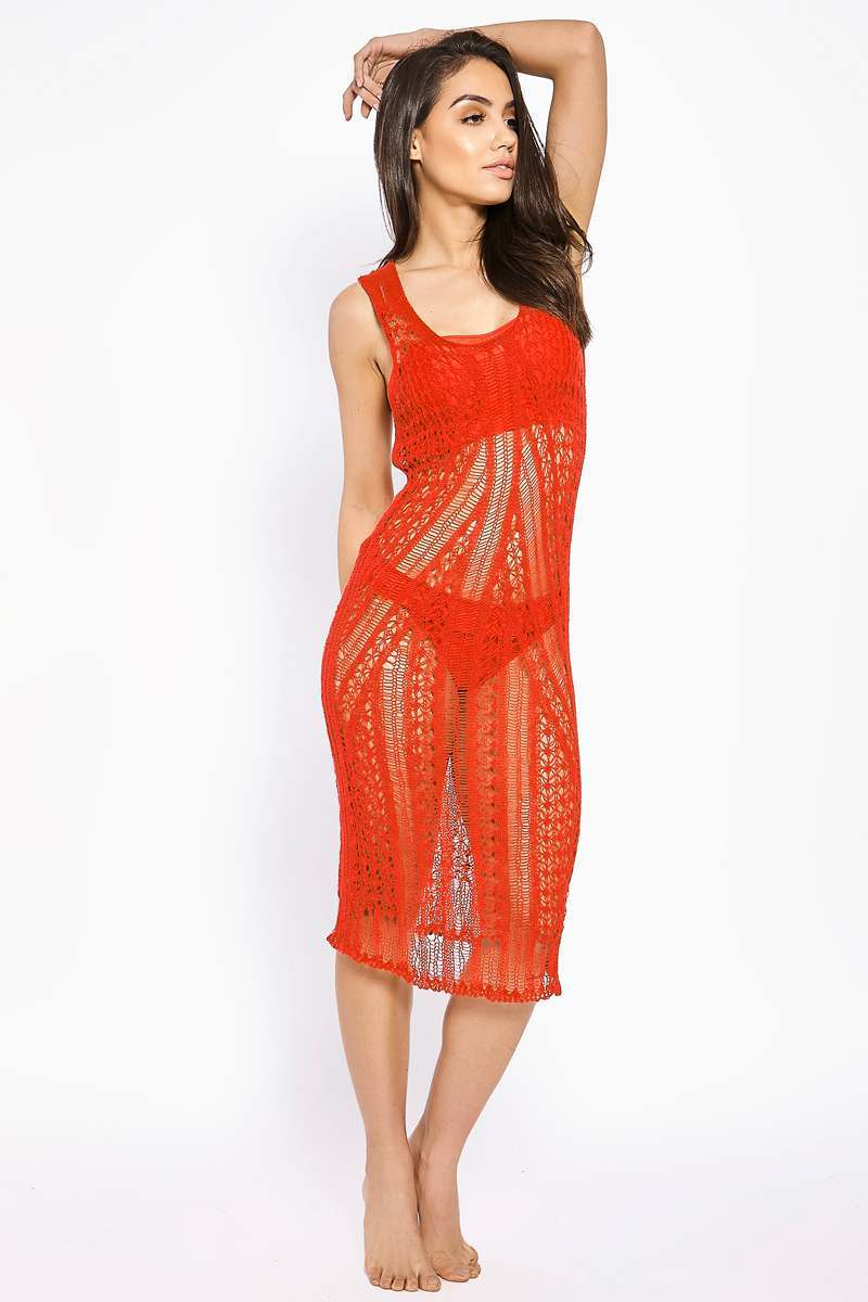 BINKY RED KNITTED LONGLINE MIDI DRESS COVER UP
