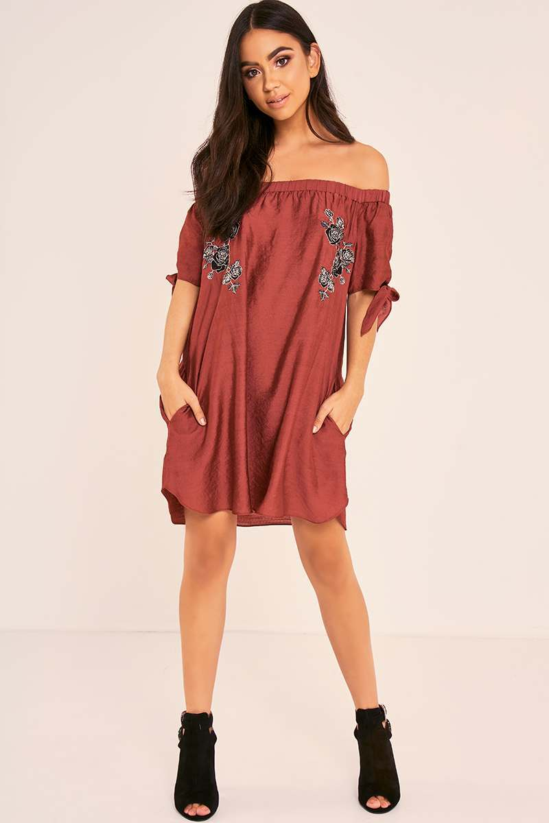 BINKY WINE FLORAL EMBROIDERED TIE SLEEVE BARDOT SWING DRESS