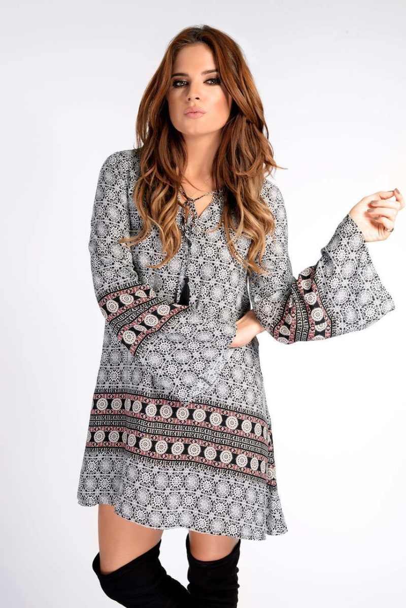 Binky Tile Border Print Tassel Detail Dress