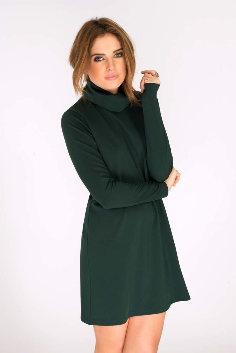 Binky Bottle Green Turtle Neck Dress