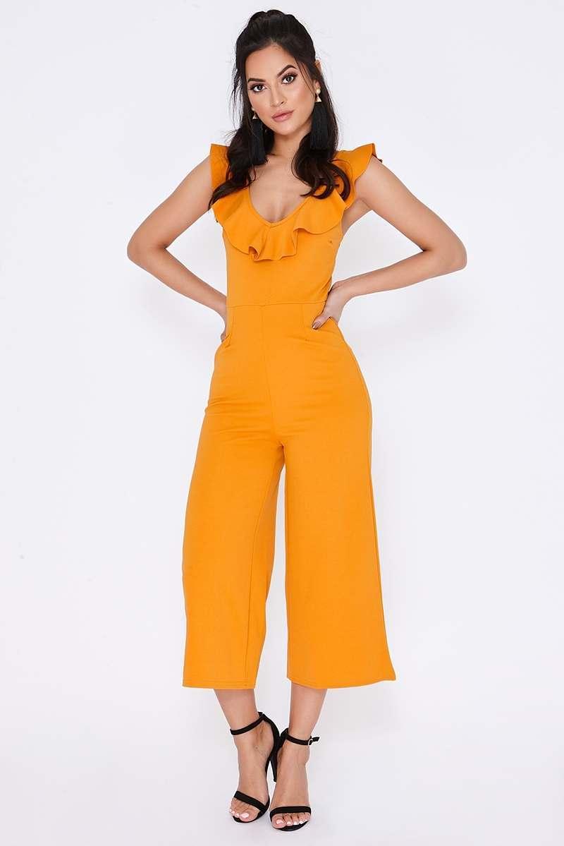 orange frill culotte jumpsuit