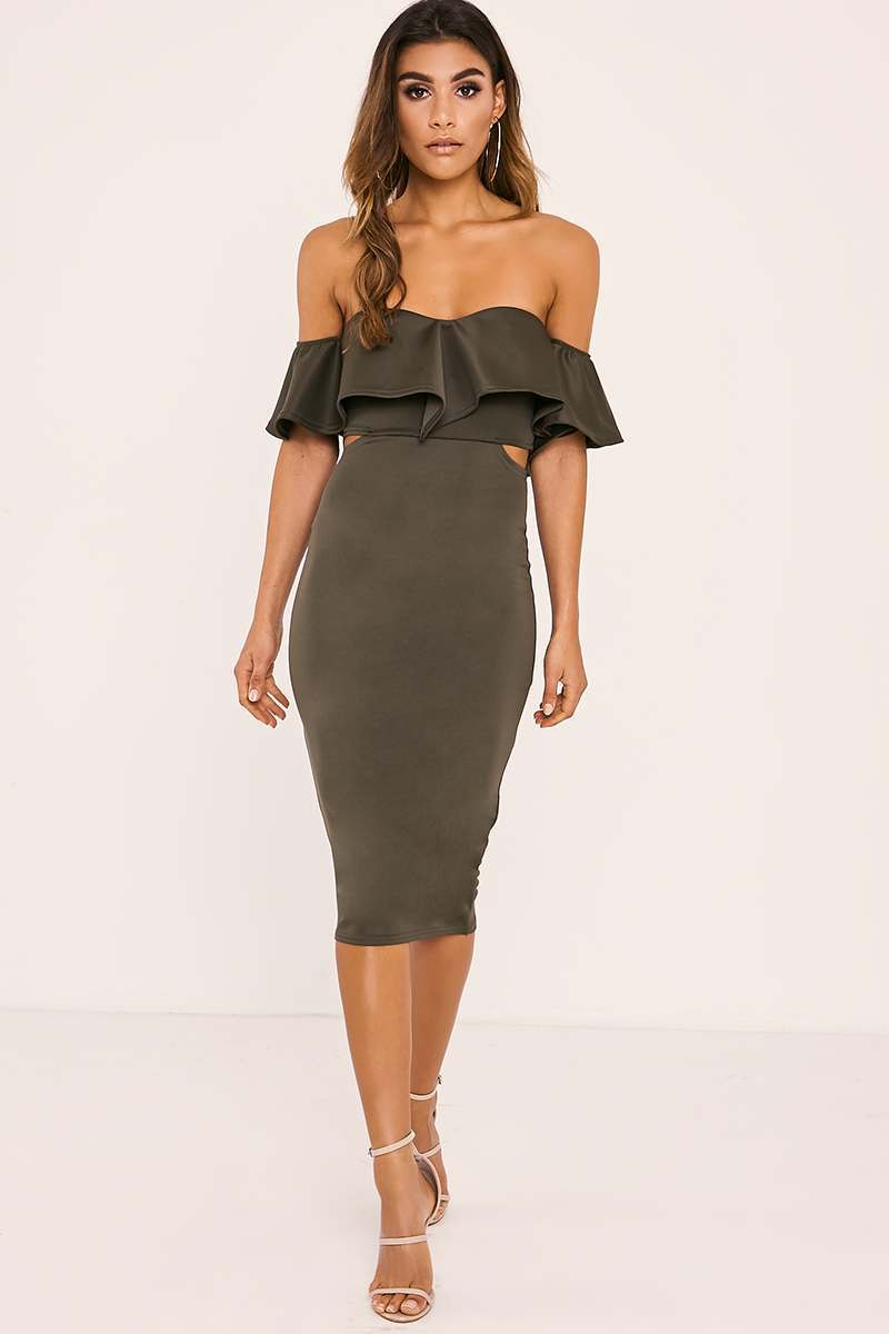 ALYRA KHAKI BARDOT FRILL CUT OUT MIDI DRESS