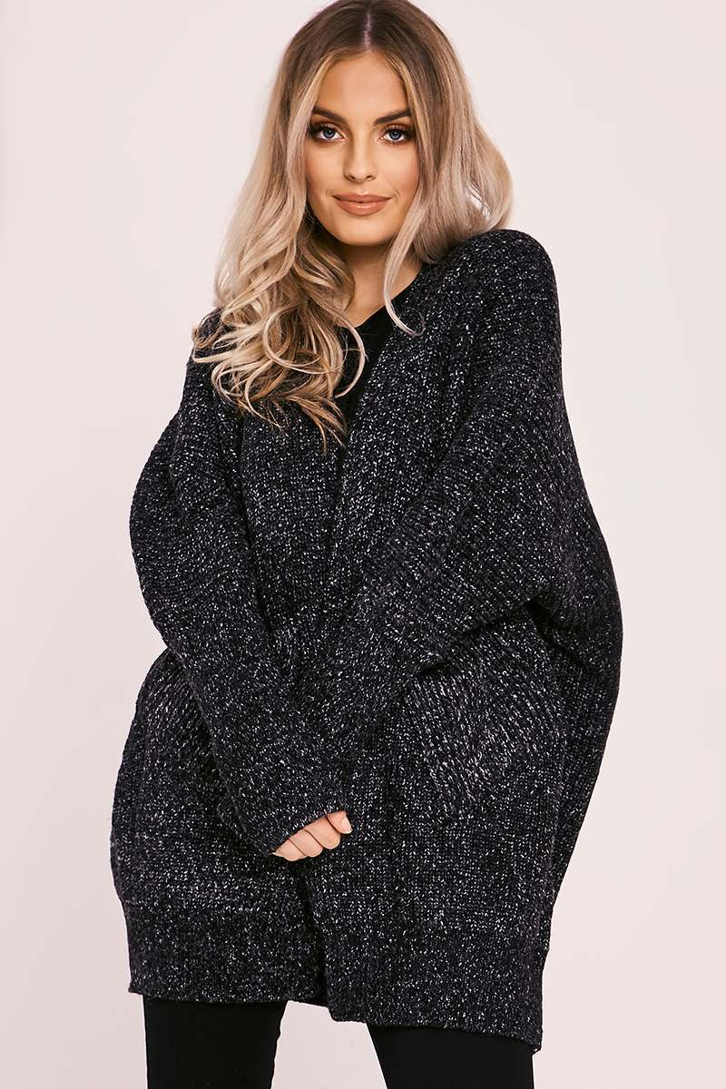 LEKSI BLACK KNITTED CARDIGAN