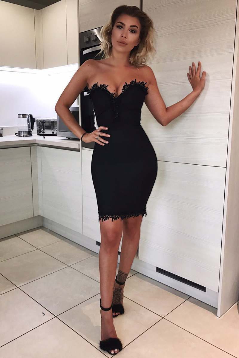 black crochet trim bodycon bandage dress