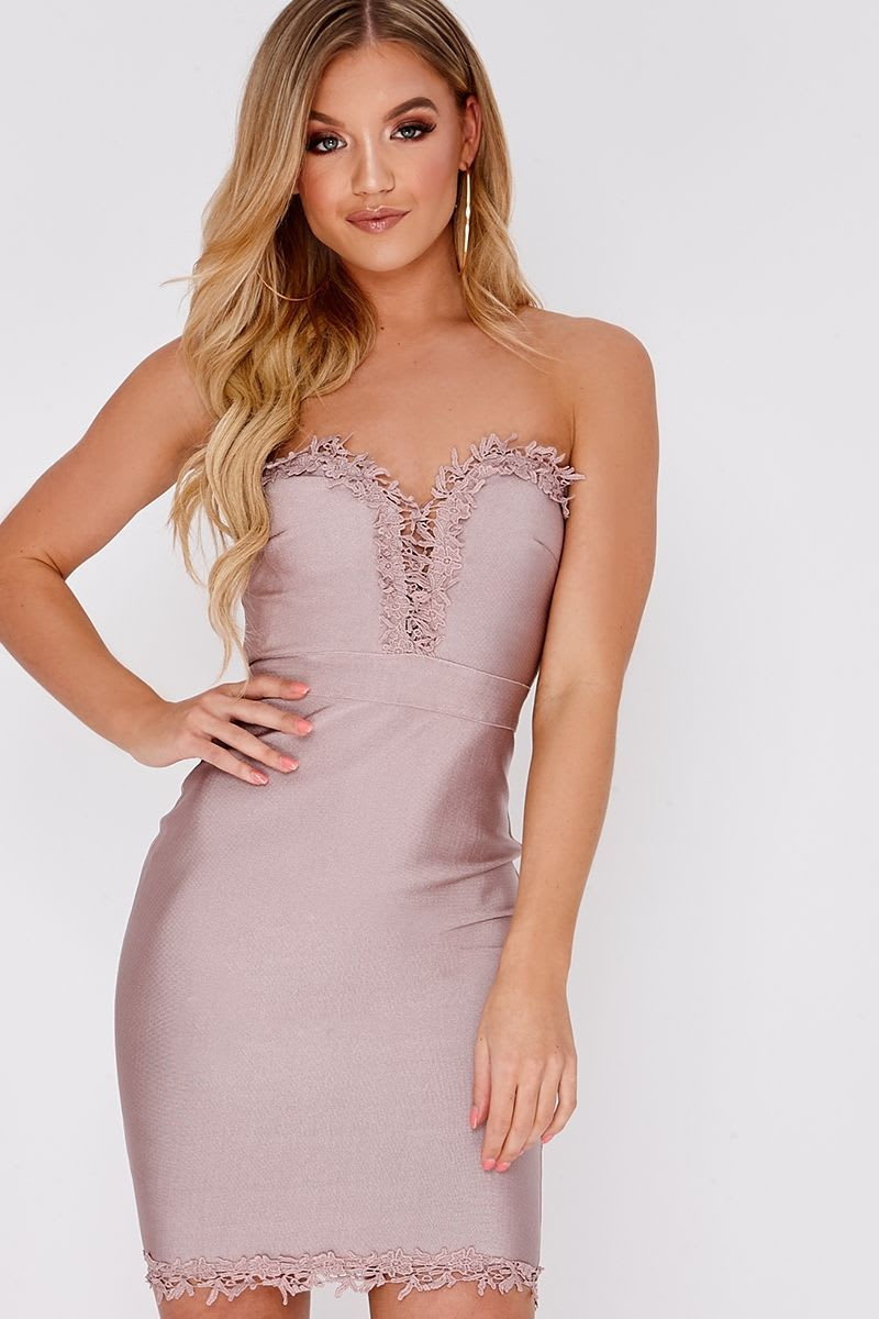 KALANI MAUVE CROCHET TRIM BODYCON BANDAGE DRESS