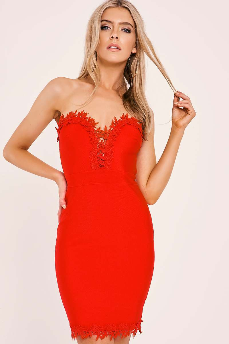 KALANI RED CROCHET TRIM BODYCON BANDAGE DRESS