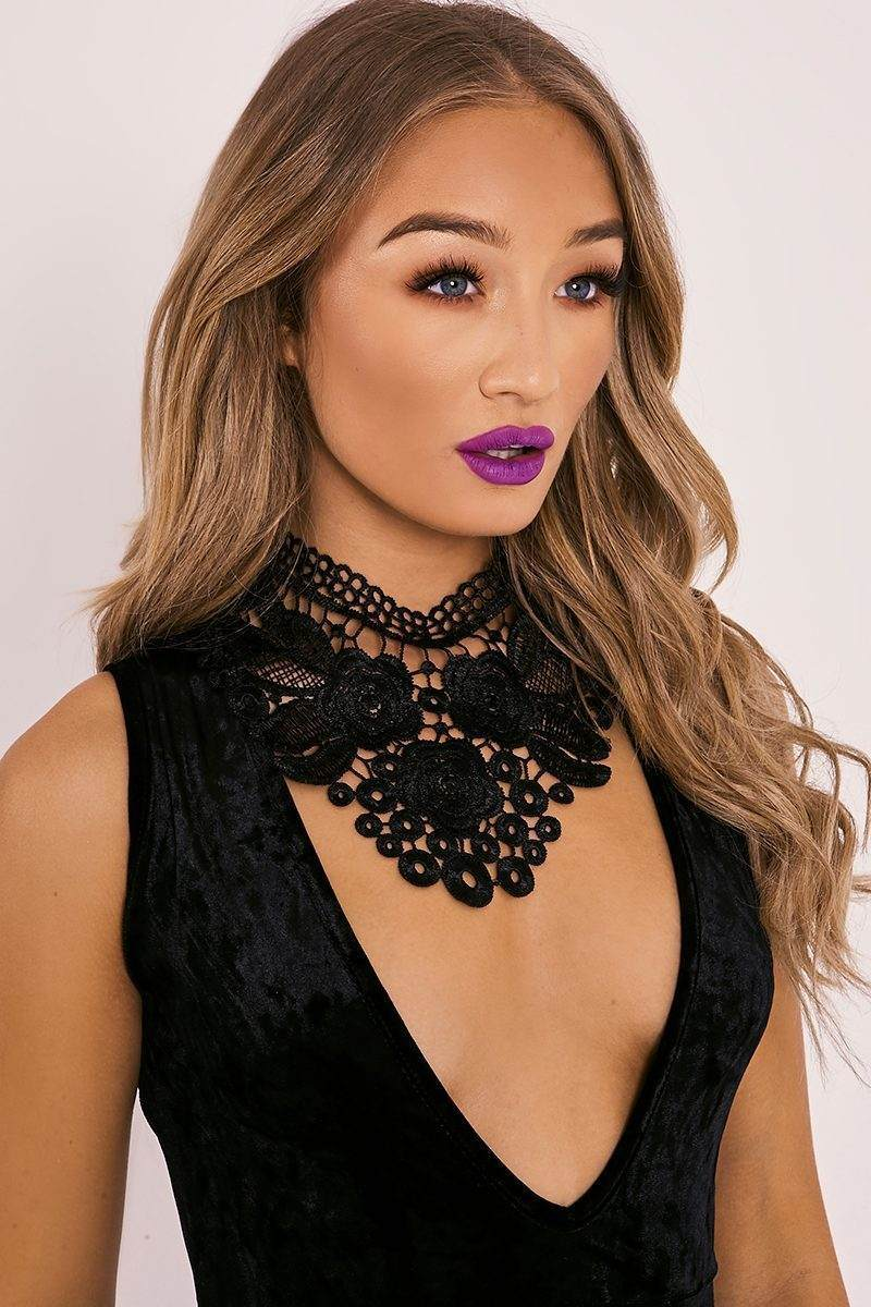 BLACK FLORAL LACE COLLAR CHOKER