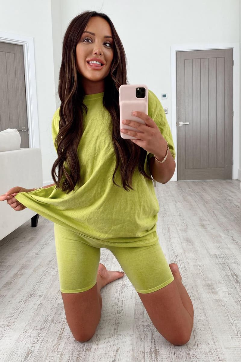 CHARLOTTE CROSBY WASHED LIME CYCLING SHORTS