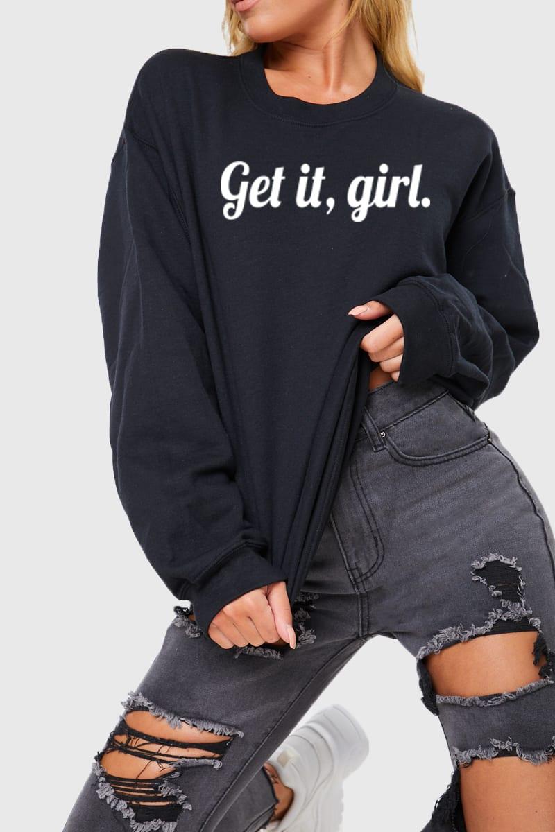 CHARLOTTE CROSBY BLACK 'GET IT GIRL' SLOGAN SWEATSHIRT