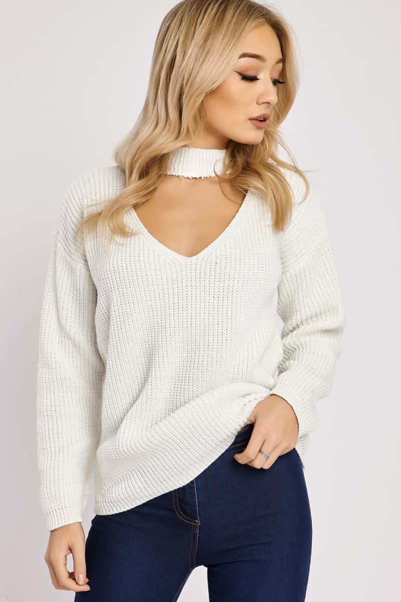 cream choker neck lurex knit jumper