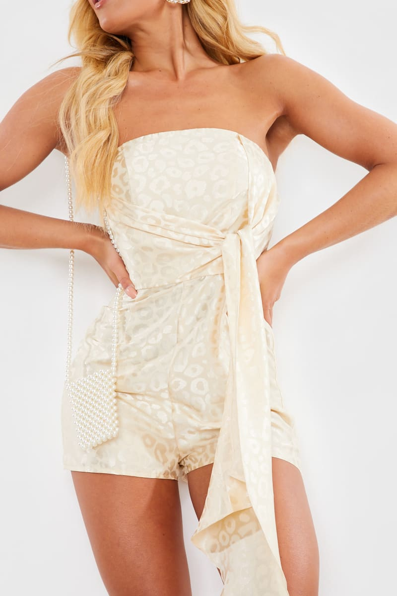 CHARLOTTE CROSBY CREAM LEOPARD JACQUARD EXTREME DRAPE DETAIL PLAYSUIT