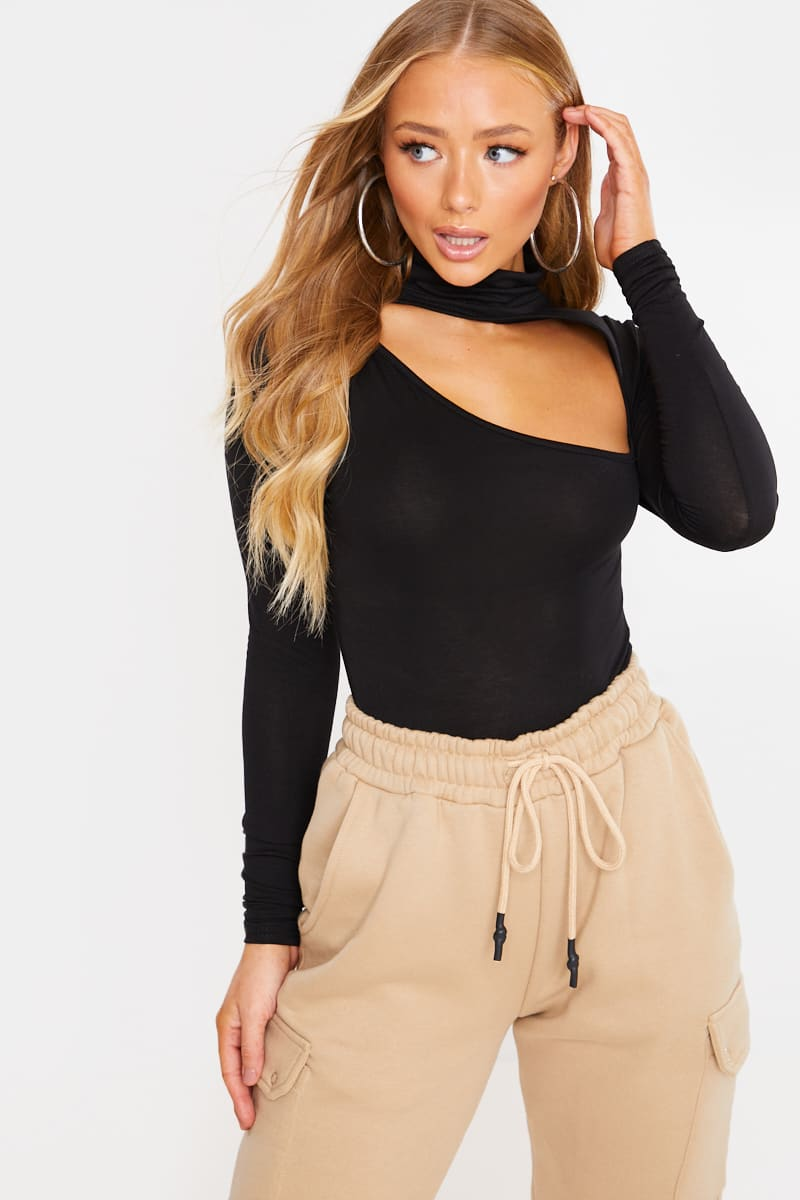 CHARLOTTE CROSBY BLACK TURTLE NECK CUT OUT DETAIL JERSEY BODYSUIT
