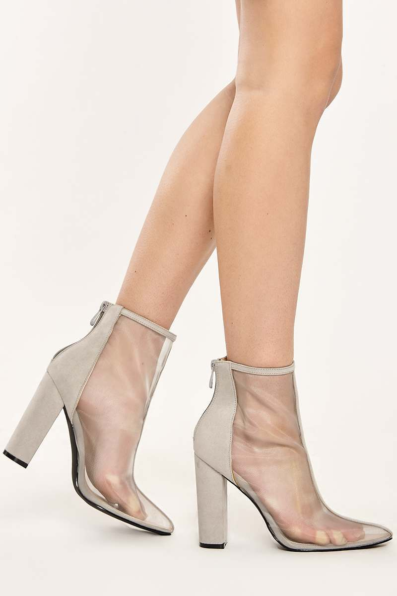 ABBEY GREY MESH FRONT FAUX SUEDE HEELED ANKLE BOOTS