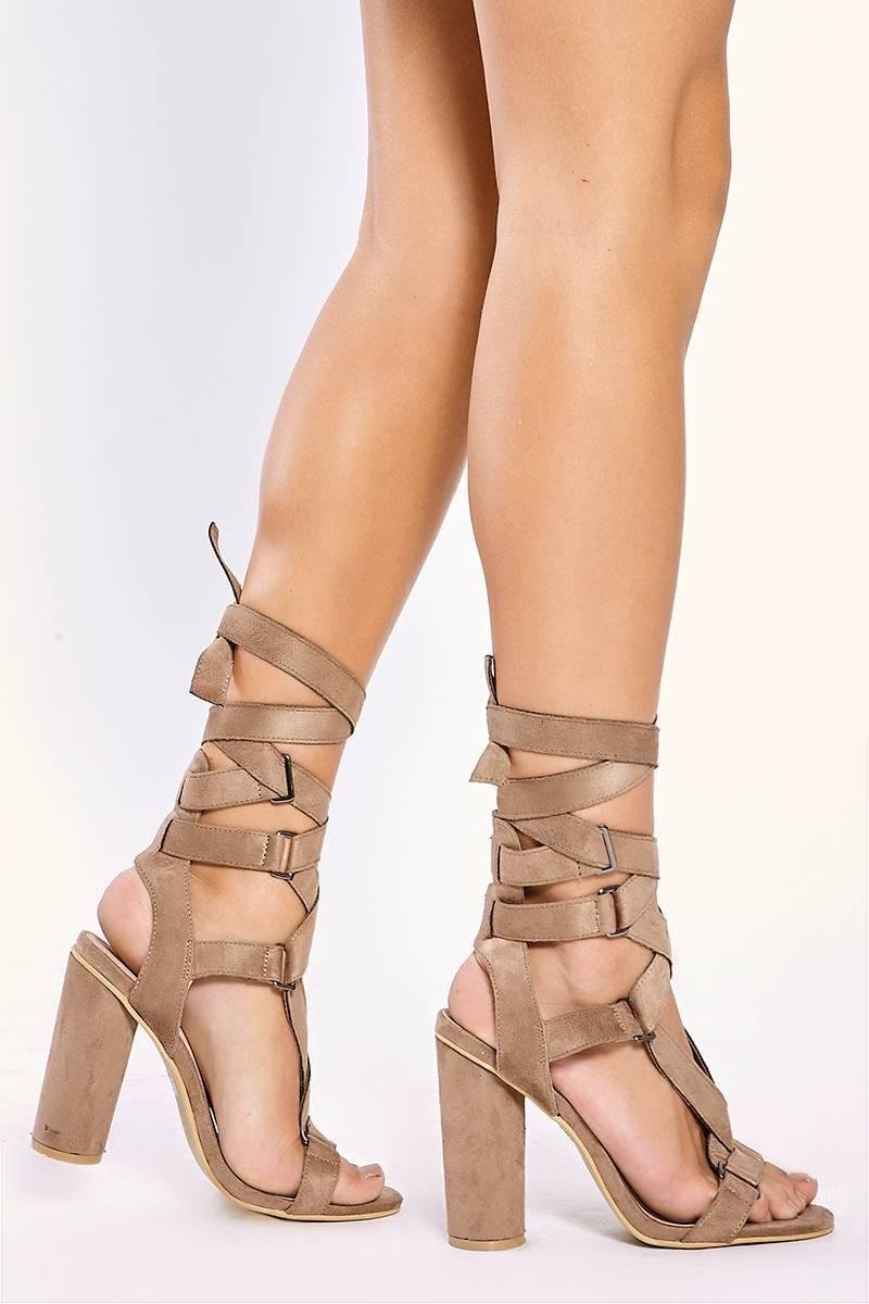 mocha buckle wrap strap heels