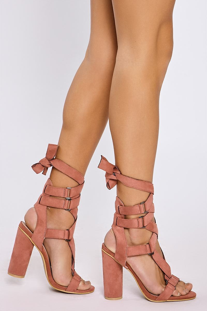 pink buckle wrap strap heels