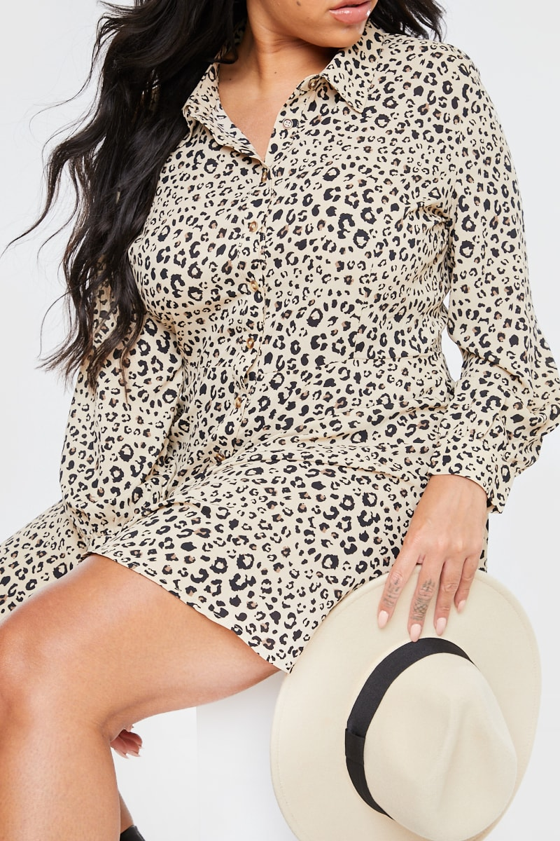 CURVE STONE LEOPARD PRINT SKATER SHIRT DRESS
