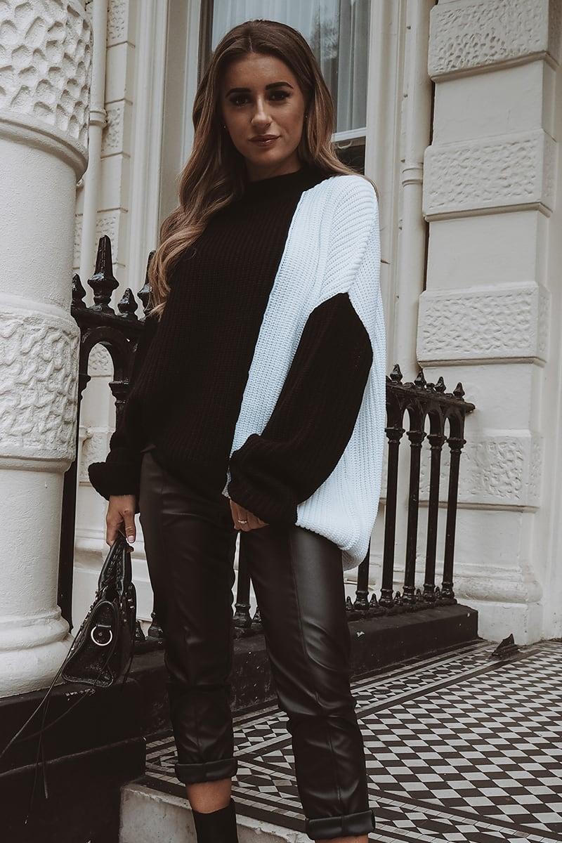 BLACK AND WHITE COLOUR BLOCK KNIT JUMPER