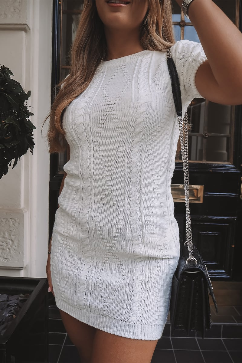 WHITE CABLE KNIT T-SHIRT DRESS