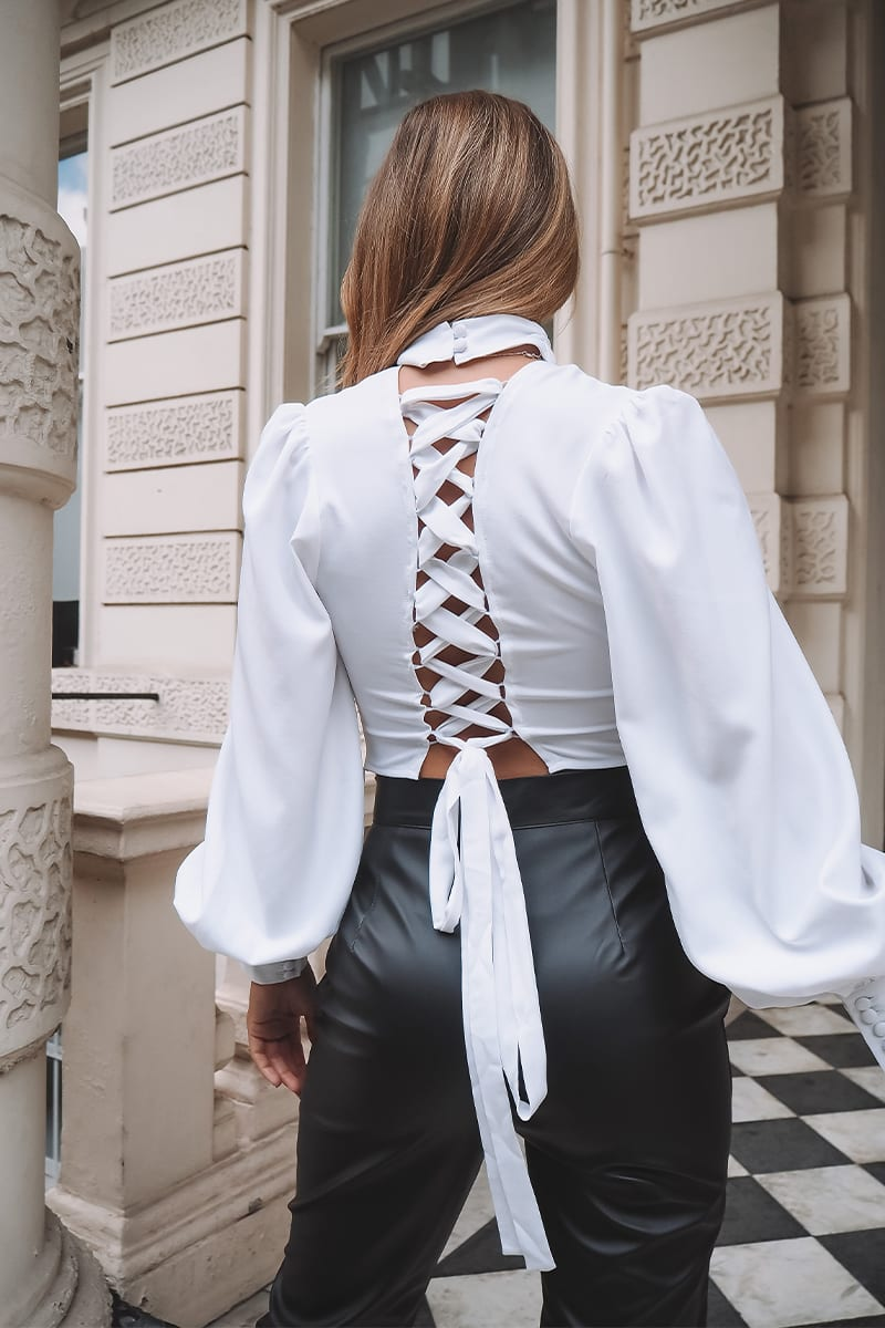 WHITE LACE UP BACK HIGH NECK CROP TOP