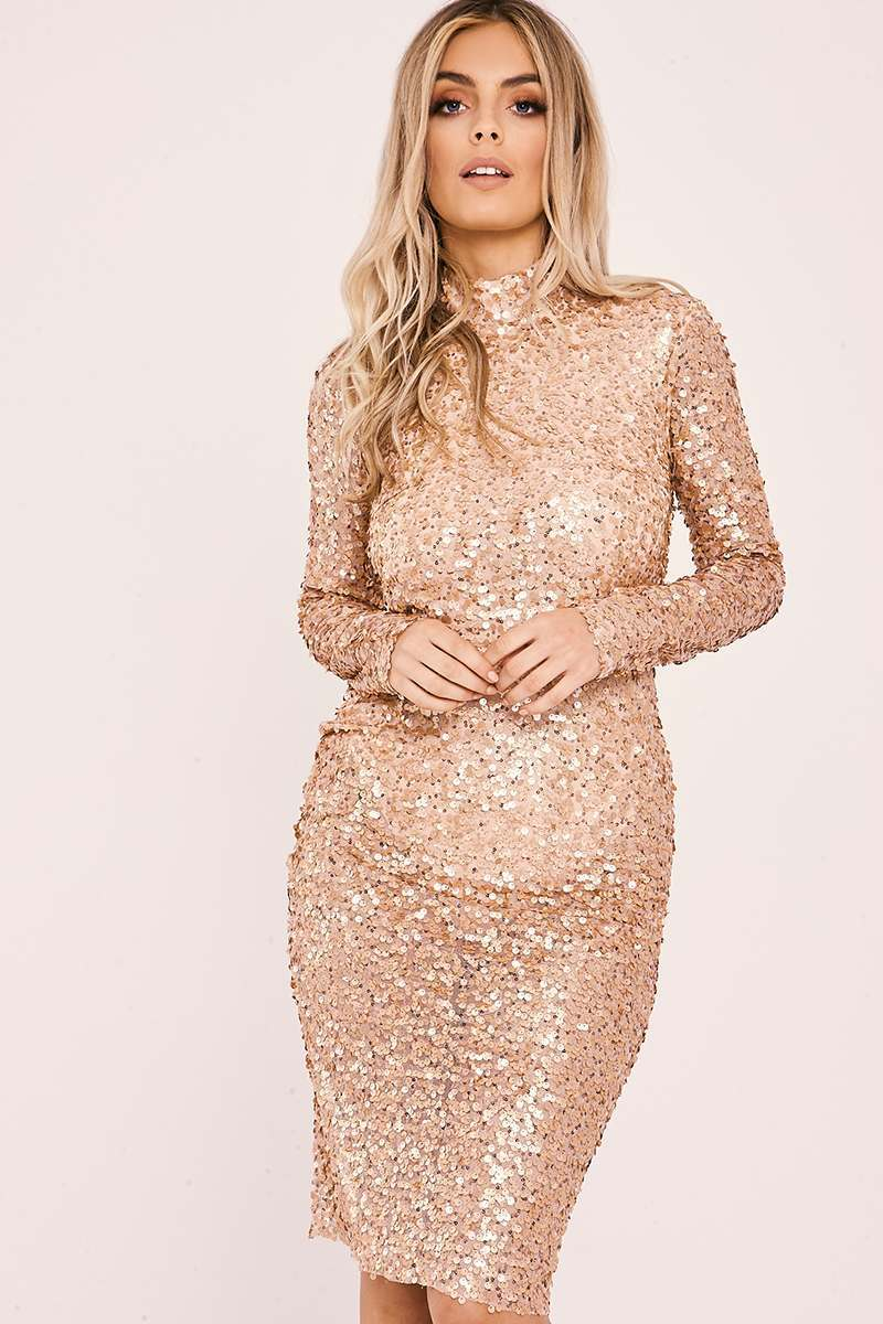 gold sequin open back midi dress