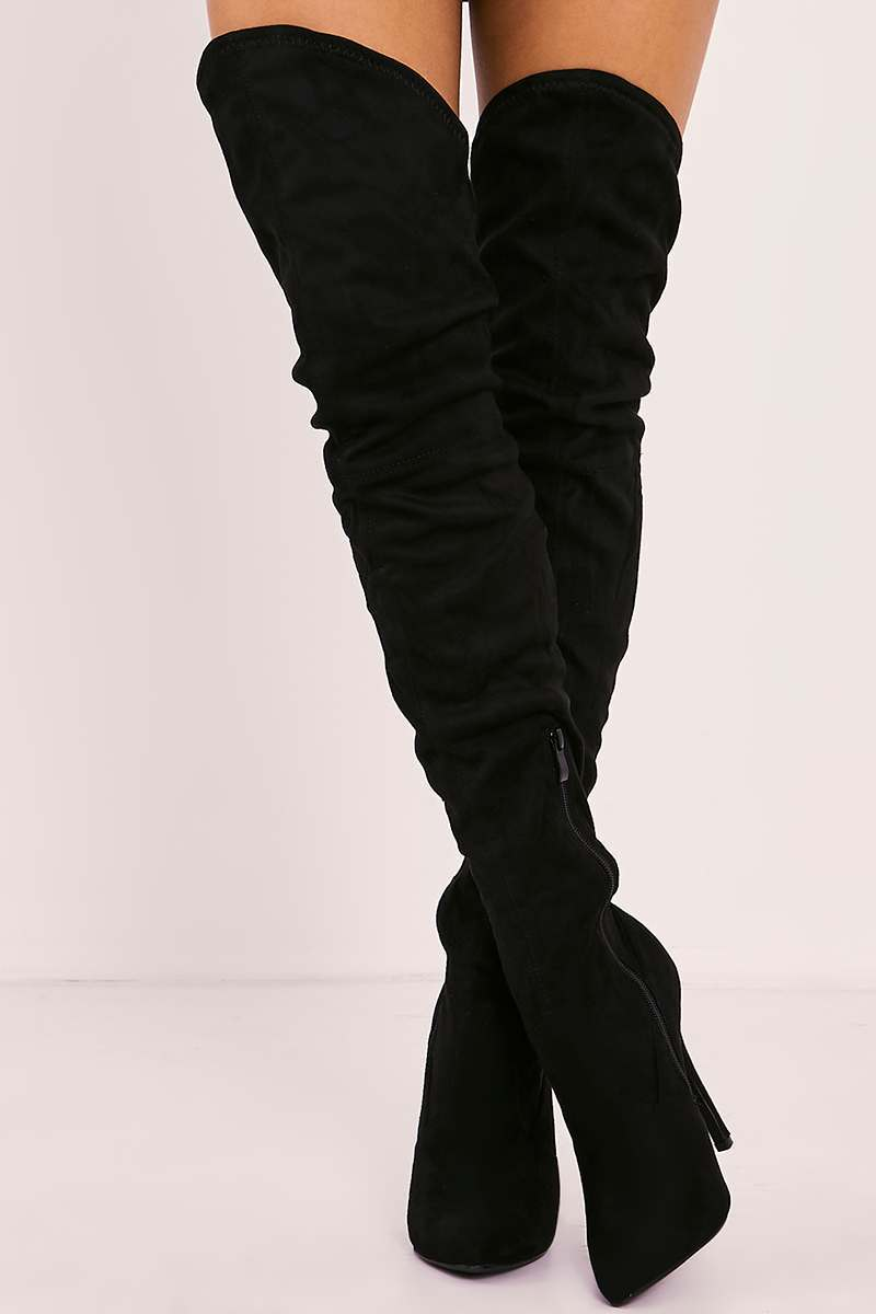 YANA BLACK FAUX SUEDE OVER THE KNEE HEELED BOOTS