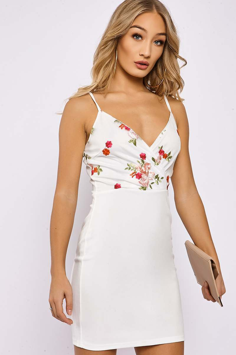 white floral embroidered wrap front bodycon dress