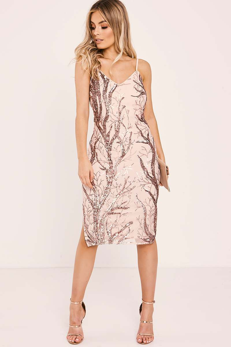 rose gold sequin mesh bodycon dress