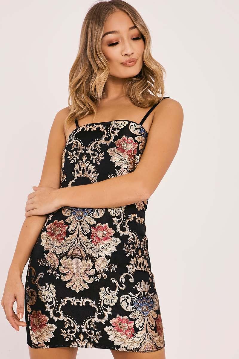 black floral brocade mini dress