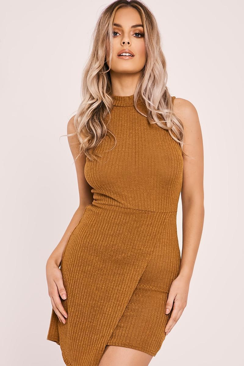 mustard rib knit asymmetric hem mini dress