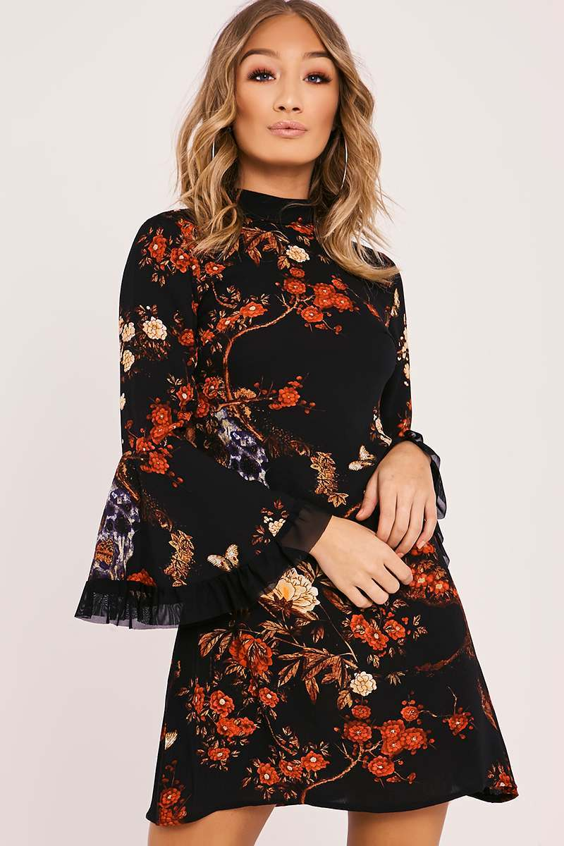 black floral flare sleeve shift dress
