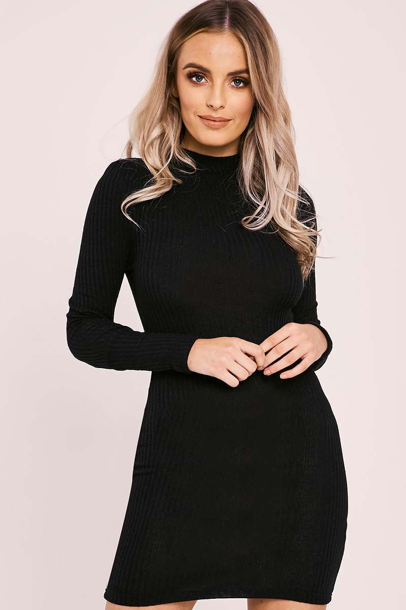 black rib knit high neck bodycon dress