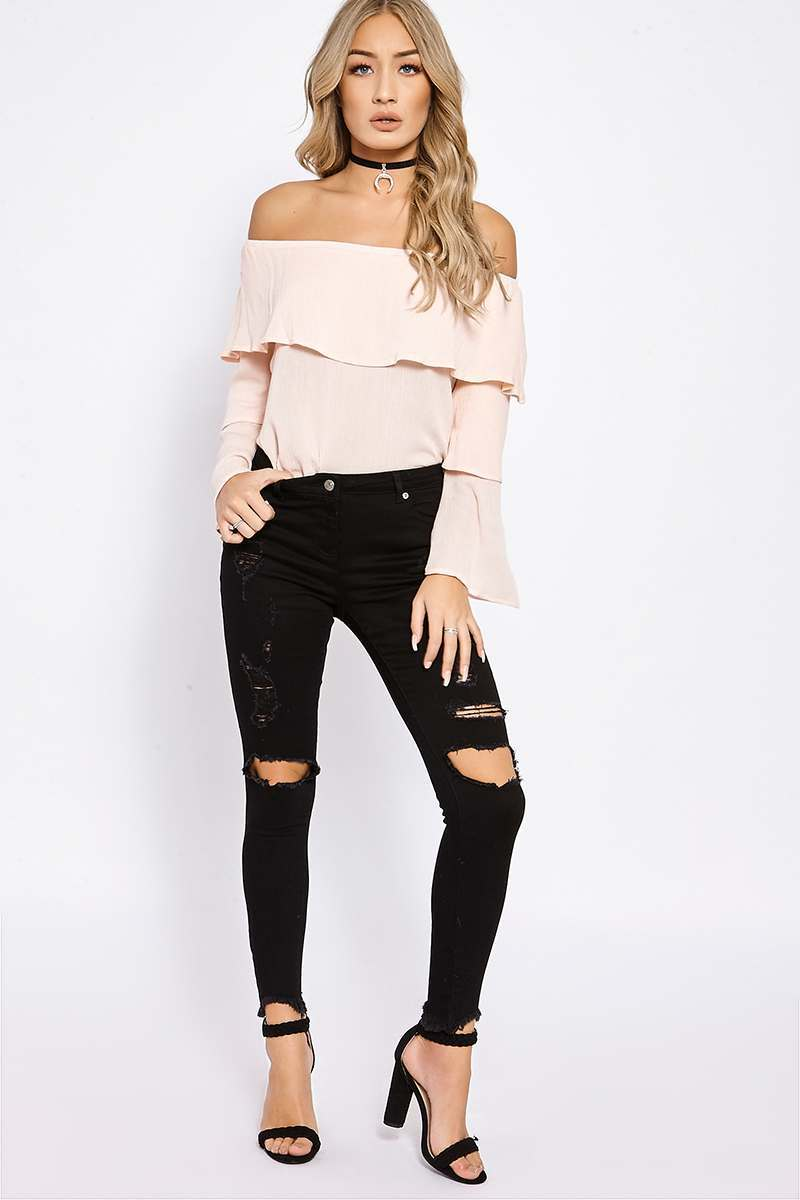 TYRA BLACK FRAYED HEM  DISTRESSED JEANS