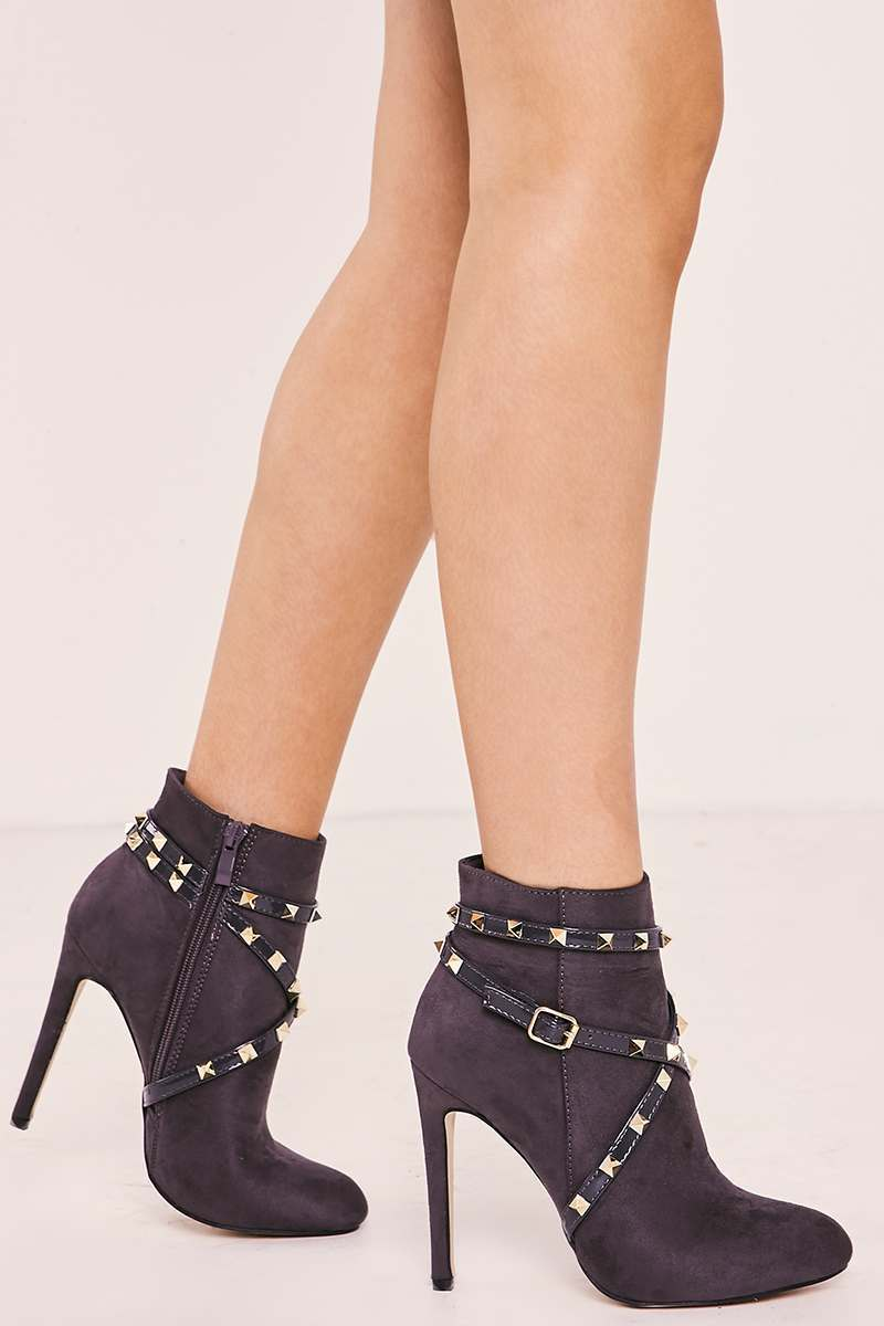 grey faux suede studded heeled ankle boots