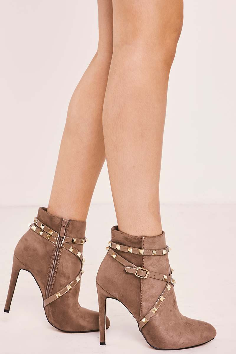 mocha studded heeled ankle boots