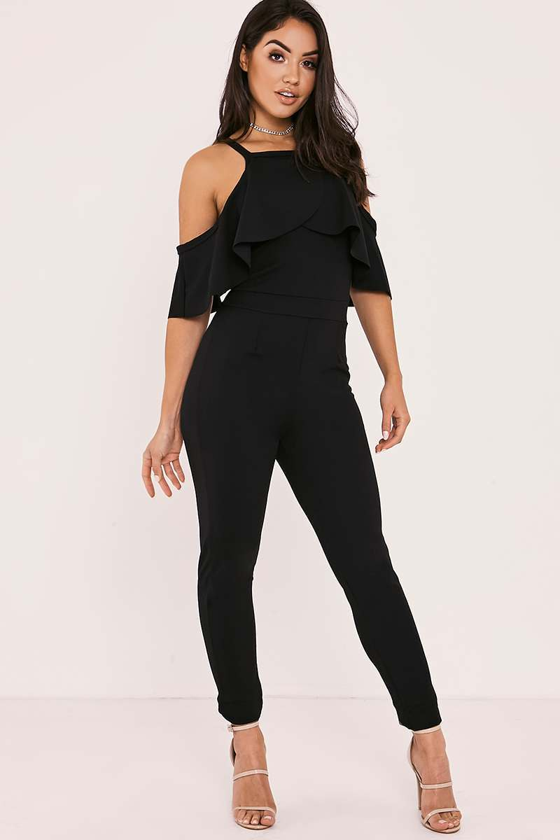 RU BLACK FRILL COLD SHOULDER JUMPSUIT