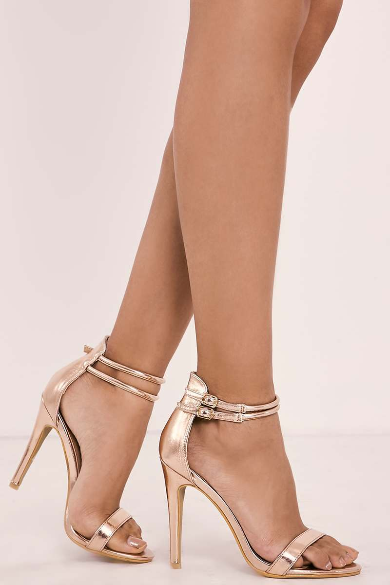 rose gold metallic strappy barely there heels