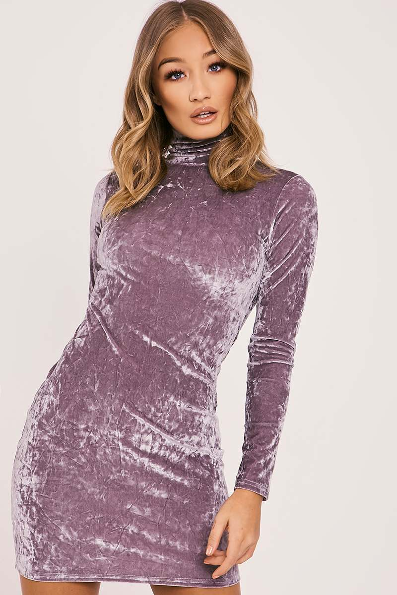 grey crushed velvet high neck bodycon dress