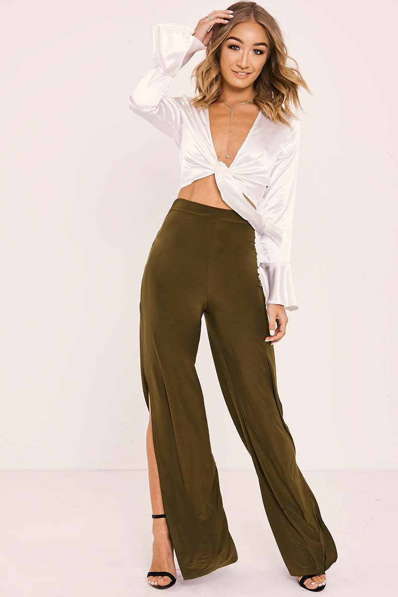 khaki side split slinky trousers