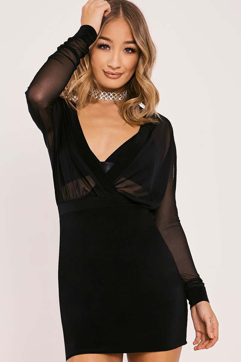 BAHIRA BLACK MESH PLUNGE LONG SLEEVED DRESS