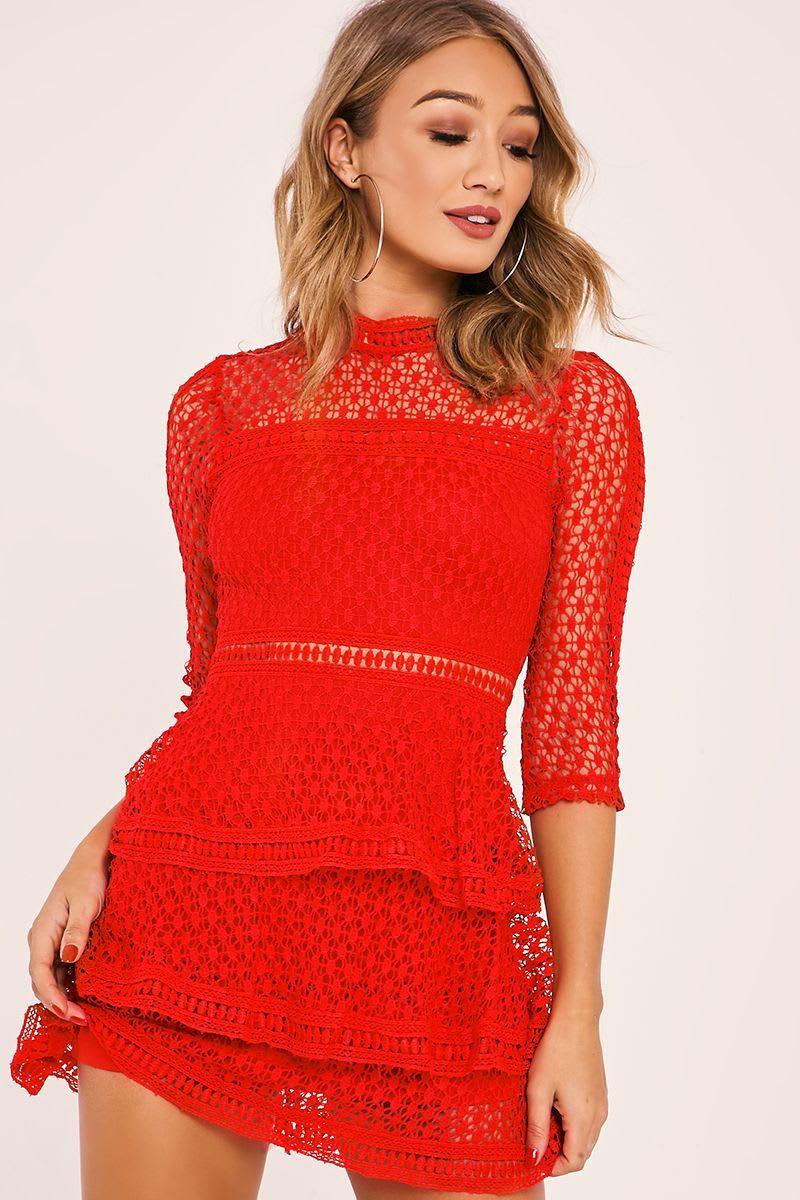 AMYA RED CROCHET LACE LAYERED DRESS