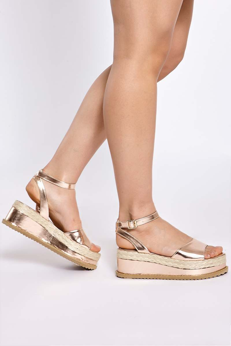 SAMMY ROSE GOLD FAUX LEATHER PLATFORM HEELS