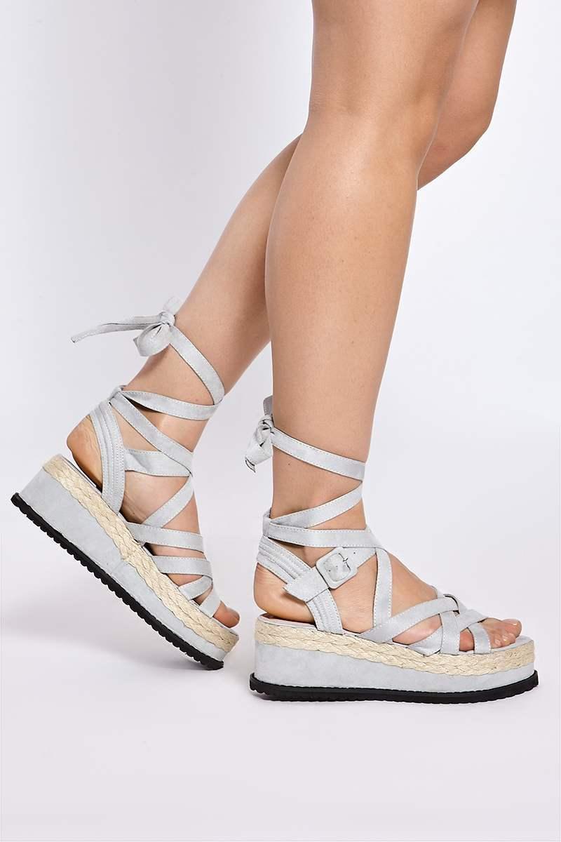 grey faux suede cross ankle tie platform espadrilles