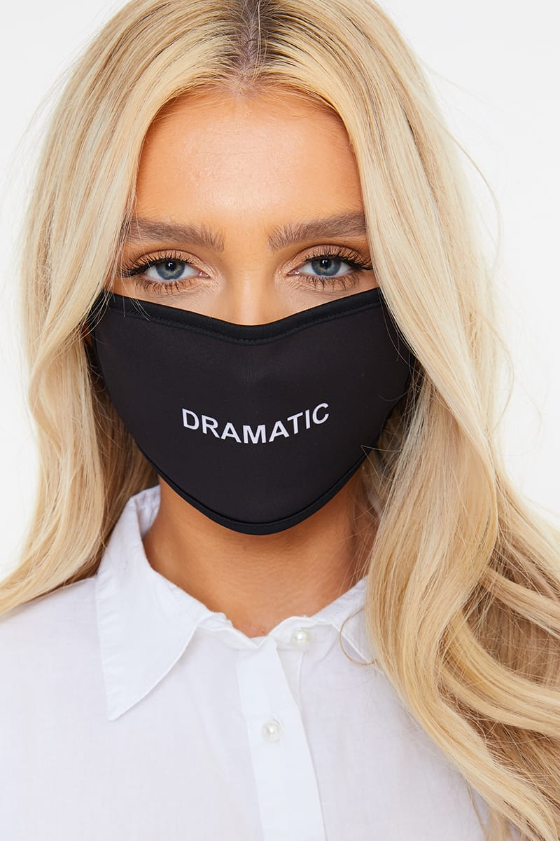 GEMMA COLLINS BLACK 'DRAMATIC' SLOGAN FACE MASK
