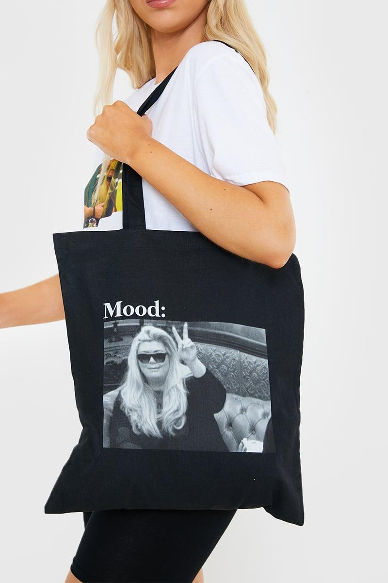 GEMMA COLLINS BLACK 'MOOD' MEME TOTE BAG
