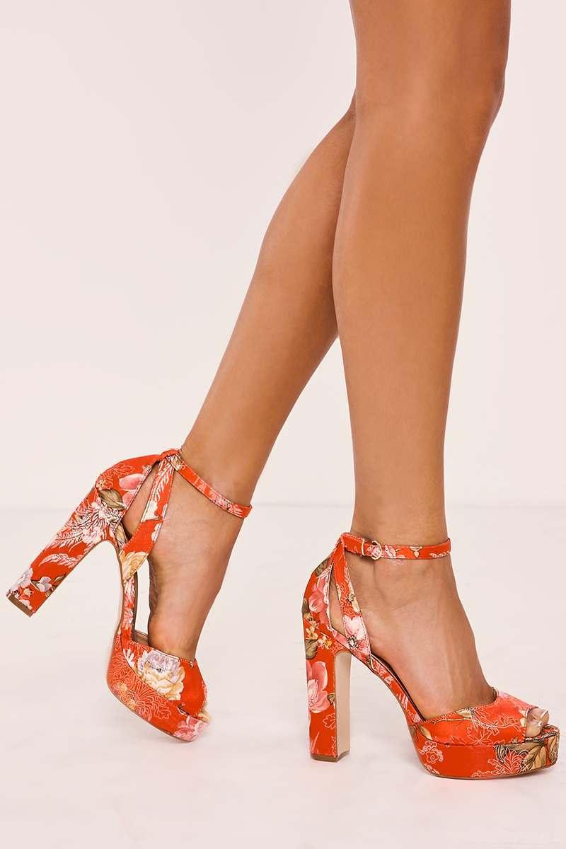 red floral platform heels