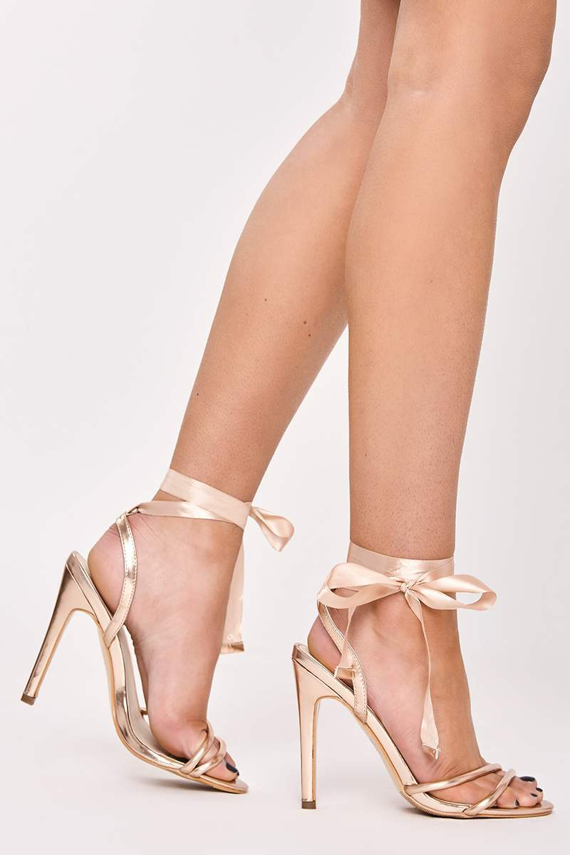rose gold pu ribbon tie heels