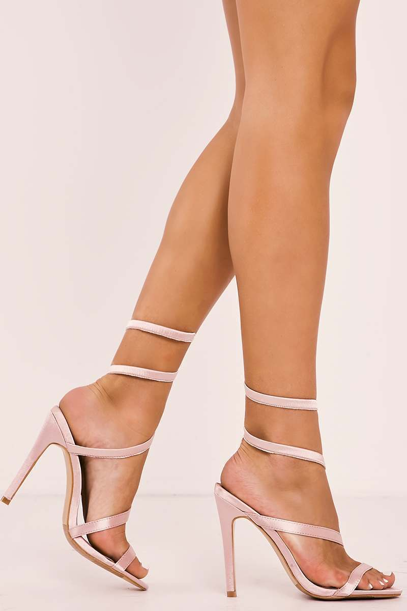 pink sculpted wrap around heels